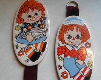 Vintage Raggedy Ann and Andy Porcelain Baby Nursery Wall Hanging Plaques