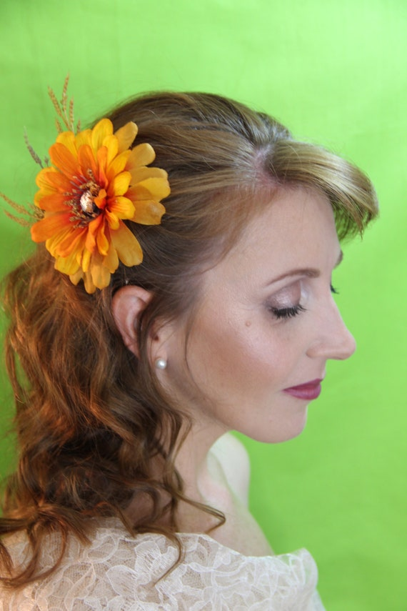 Burnt Orange And Yellow Flower With Blush Center Stone And Etsy