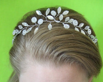 """Crystal Flower and Leaf flexible headband """"Abigail"""""""