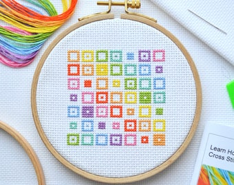 Cross Stitch Kit For Beginners - Geometric Squares - Learn How to Cross Stitch Kit with 5-inch Hoop and Tutorial Booklet - with DMC Thread