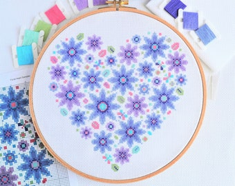PATTERN Floral Heart Sampler Cross Stitch Chart - Modern Pretty Flowers Design for 10-inch Hoop on 14 Count - Purple and Lilac Colours