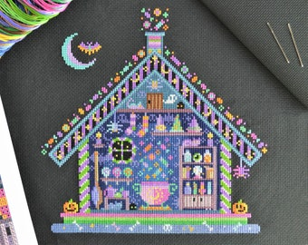 KIT Witches' Hideout Cross Stitch Kit - Fun Halloween Spooky Cut Through Design with Bright Colours on 16 count Aida with DMC Floss