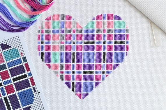 Tartan Square Cross Stitch Kit Modern Design on 14 count Aida with DMC Thread