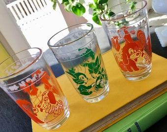 3 Swanky Swigs Baby Farm animals Hazel Atlas Juice Glasses