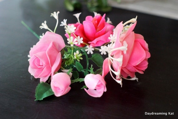 6 pink rose stems artificial flowers fake flowers floral etsy image 0 mightylinksfo
