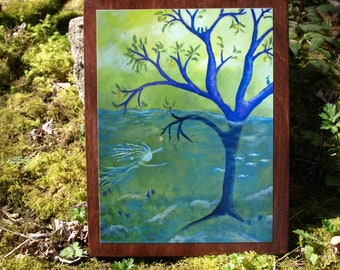 Dream Apple Tree Print, READY TO HANG, whimsical painting