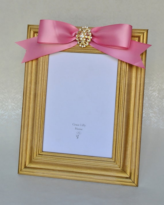 Baby Shower Gift Pink Picture Frame With Bow And Brooch Etsy