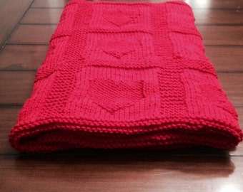 Hand knit hearts baby blanket