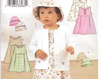 6b12d53cd1d8 Girls Button Front Jacket, Empire Dress with 2 Pleats or Ruffle Sunhat and Panties  Pattern, For 13 to 29 Pound Baby Girls, Butterick 3782,