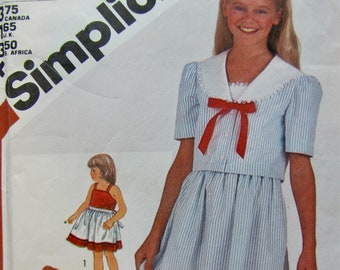 Simplicity 5858, Girls Size 8 Summer Dress Sewing Pattern, Sundress with Straps and Sailor Jacket, Waist Length Jacket, Back Ties, Easy Sew