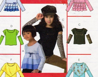 Fitted Pullover Top Long or Cap Sleeve, Tiered or Flounces Girls Top, V Shape Over Top, McCalls 4909, Girls Size 3,  to 6Sewing Pattern