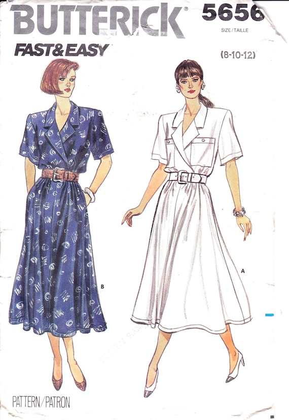 5844c3d8070 Mock Wrap Bodice Dress Midi Flared Skirt Patch Pockets Side