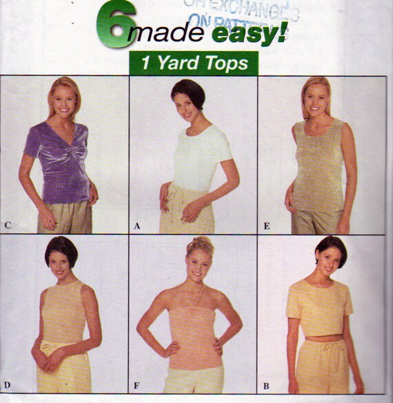 1 Yard Knit Tops Sewing Pattern 6 One Yard Tops to Sew Tank