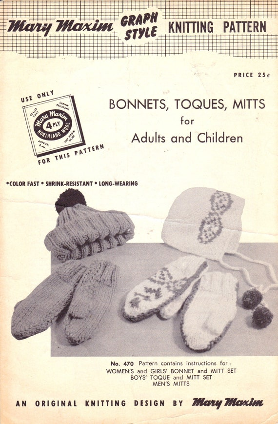 Bonnets Hats Toques And Mittens Knitting Patterns For The Etsy