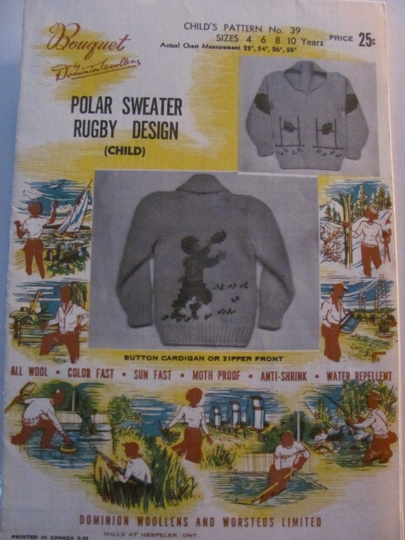 Rugby Or Football Player Fair Isle Knitting Polar Cowichan Etsy