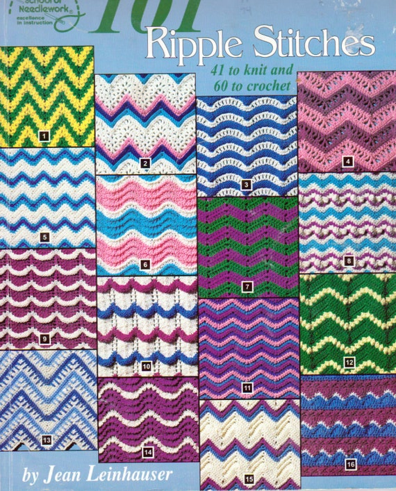 101 Ripple Stitch Afghan Patterns 41 Knitting Ripple Stitch Etsy