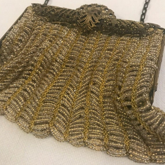 Antique Victorian Gold Beaded Chatelaine Purse