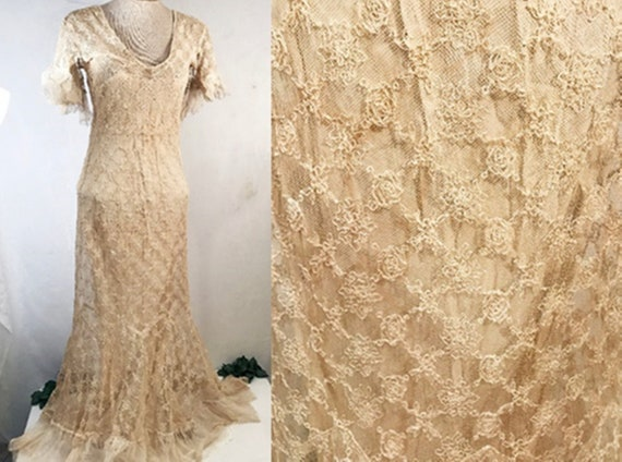 Antique Dress | Antique 1920's Lace Evening Gown o