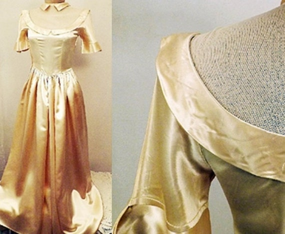 Antique Dress | Antique 30's Liquid Gold Satin Eve