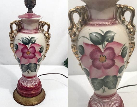 Vintage Gilt Porcelain Urn Style French Country Table Lamp