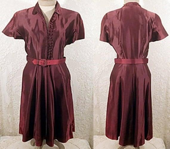 40s Dress | 40's  Maroon Silk Evening Dress or Gow