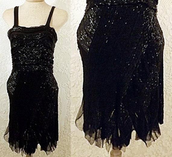 30's Dress | Antique 30s Black Beaded Flapper Dres