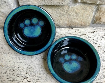 Dog Dishes, Small ~ Set of 2 Bowls ~ Pet Dishes ~ Dog Bowls ~ Paw Print Stoneware Dog or Cat Pet Bowl ~  Ceramic Pottery Food and Water Dish