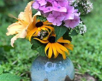 Flower Vase ~ Stone & Blue Cascade ~ Pottery Vase ~ Home Decor ~ Ceramic Vase ~ Gifts for Women ~ Anniversary Gift ~ Art Decor for Home