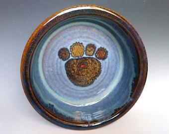 Large Dog Dish ~ Pet Dish ~ Dog Bowl ~ Paw Print Stoneware Dog or Cat Pet Bowl ~  Ceramic Pottery Food and Water Dish ~ Handmade