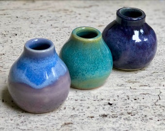 Small Bud Vases ~ Unique Home Decor ~ Set of 3 ~ Handmade Ceramic Stoneware ~ Mini Vases ~ Ceramic Vases ~ Pottery Vases ~ Gifts for Women