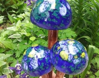 Mushroom Garden Stakes ~ Yard Art ~ Handmade Mushroom Stakes ~ Set of 3 ~ Garden Decor ~ Ceramic Mushrooms ~ Outdoor Decoration