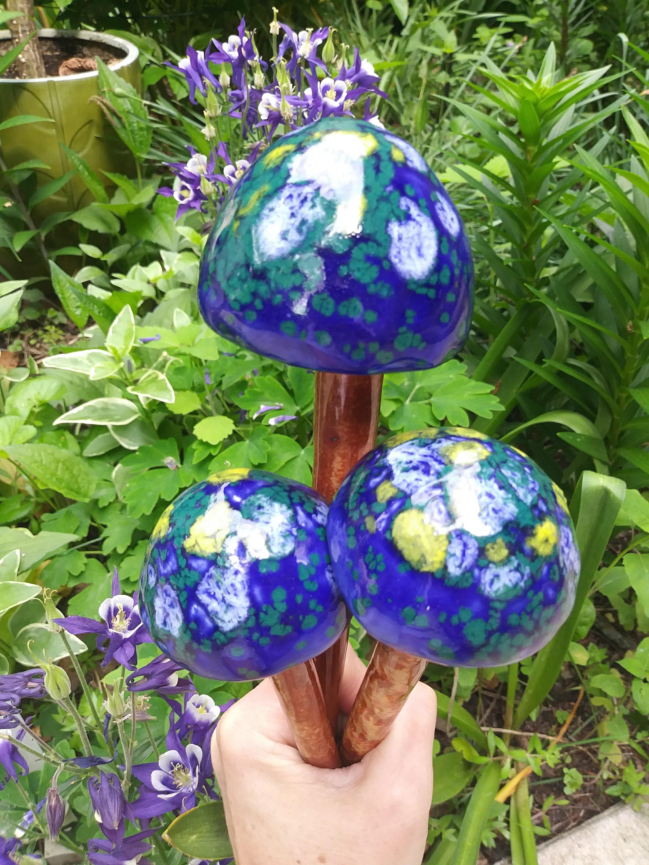 Mushroom Garden Stakes Yard Art Handmade Mushroom Stake Etsy