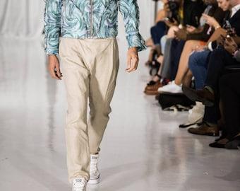 Linen natural color pants with asymmetrical closure