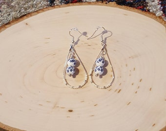 White/Cream Dangles with Blue Flowered Beads