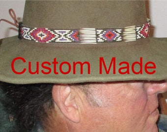 8606178f0e3 Custom made! Suede Braided Hatbands and Hatbands with Porcupine Quills and  Glass Beads. Handcrafted in the USA for Western Style Hats