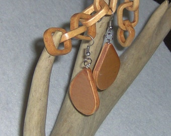 Handcarved Stained Wood Earrings Teardrops, 2.5 Inches in Length on Silver Toned French Hooks Dangle Earrings