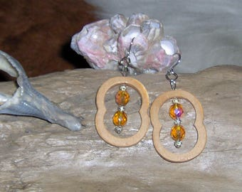 Handcut Wood Crazy Shaped Earrings, Dangle Earrings with Czech Fire Beads, Yellow with Silver Plated Filigree