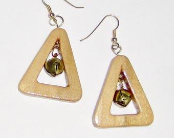 Jingle Bells Ring...Are you Listening?, Jingle Bell Earrings, Gold Toned Jingle Bells Pierced Earrings Handmade Wooden Triangle with Bells