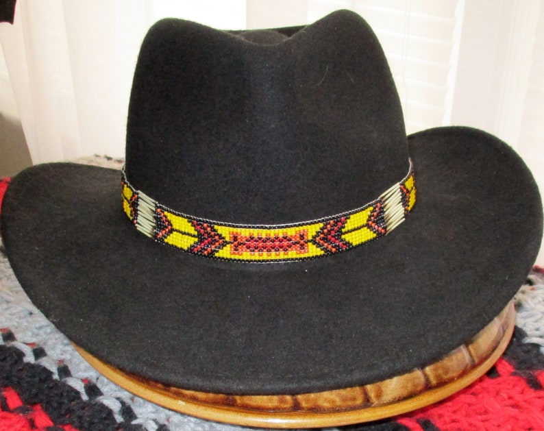 d2184dd1ad7a4e Yellow Fellow. A Cowboy Style Hatband with Porcupine Quills & | Etsy