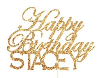 Happy Birthday Cake Topper, Personalized Birthday Cake Topper, Personalized Cake Topper, Glitter Cake Topper, Cake Topper Birthday