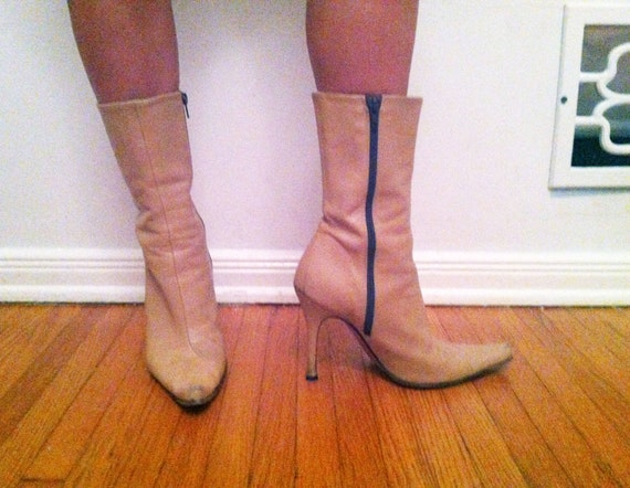 Sexy, camel stiletto boots