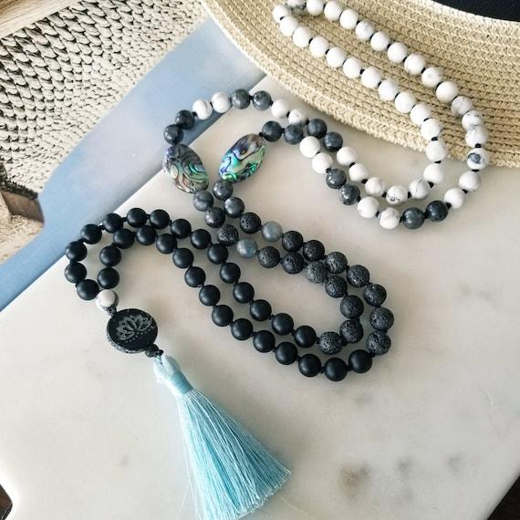 beaded necklace prayer beads Black Onyx 108 mala beads meditation beads long necklace Rock Crystal knotted mala gift for yogi