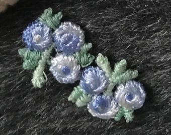 #5116 Trim Fringe Pink Purple Flower w// Butterfly Embroidery Appliqué Patch