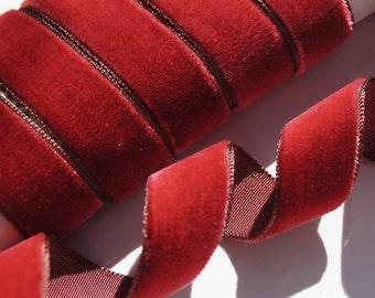 1 Velvet Ribbon by the yard Teal Vintage French Velvet Ribbon Wholesale Dress Ribbon Rose Mauve Jewelry DIY Sewing Velvet Made in France