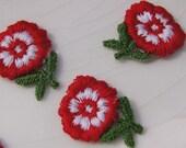 1960s Vintage Flower Applique, Red White Flower Embroidery Applique, Vintage Embroidered Applique Flower 1177