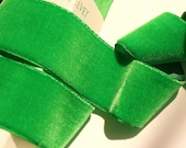 French Velvet Ribbon Grass Green 1.5 quot Wide Vintage Velvet Ribbon by the yard, Vintage Velvet Dress Ribbon Trim Wholesale 48 Made in France