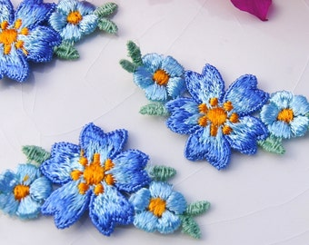 "3.25/"" Blue Organsa Flower Embroidery Applique Patch"