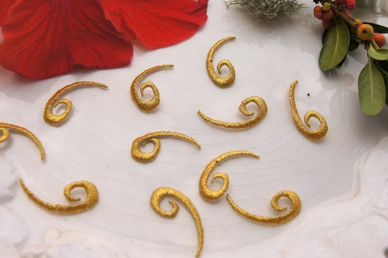 Gold swirl applique vintage embroidered iron on gold metallic etsy