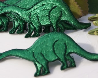 Vintage Iron On Dinosaur Applique, Green Dinosaur Embroidery Applique, Vintage Embroidered Iron On Applique Animals #5078