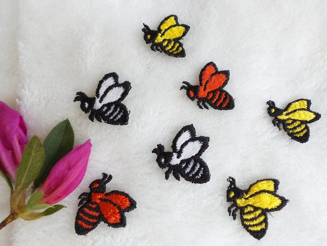 Bumble bee applique vintage embroidery patches red bee black etsy